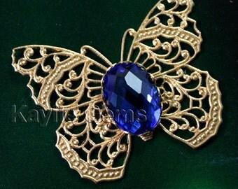 Exquisite Raw Brass Filigree Butterfly Glass Jewel Victorian Pendant -Sapphire