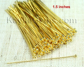 For Pearl Ball Tip Headpins Gold 38mm 1.5 inches 24 Gauge - 100pcs