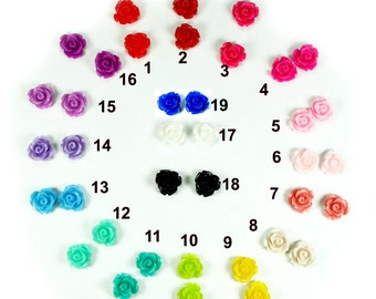 11mm Rose Flower Resin Cameo Cabochon Flat back  -Pick Up to 6 Colors - 24pcs
