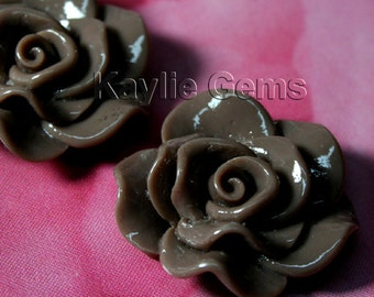 Large Rose Flower  Cabochon Cabs 30mm Vivid Ruffle Petal - Brown