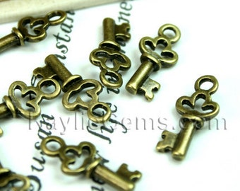 Small Antique Brass Skeleton Key Charms Earring Drop -12pcs