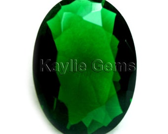 Oval 30x22mm Glass Jewel Diamond Cut Faceted Pointed Back Unfoiled - Emerald Green BG136 - 1 Piece
