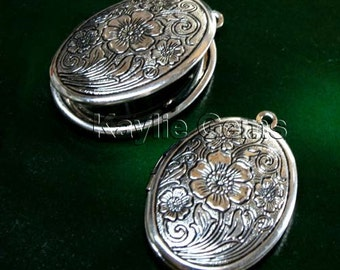Lockets Oval Cherry Blossom Flower Hand Touched Antique Silver Victorian Style   -  LKOS-L1AS - 4pcs