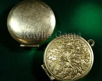 Round 27mm RAW Brass Flower Face Locket  Pendants - LKRS-X21AB -2pcs