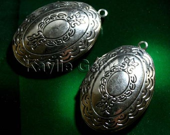 26x37mm Oval Baroque Victorian Pattern Hand Touched Antique Silver Locket  Pendant LKOS-97AS - 2pcs