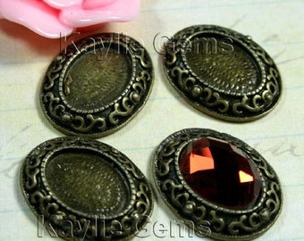 Oval 18x22mm Fits 10x14mm Cameo Cabochon Setting Frame Pendant Antique Brass  -FRM-14854AB - 4pcs