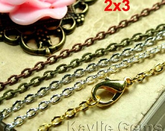 """Fine Flat Oval 2x3mm Chain Necklace 24"""" Long Mix and Match - 4 pcs"""