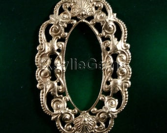 2 Filigree Stamping Frame Finding Art Nouveau Baroque Victorian Style Raw Brass -E8153RB-Center out
