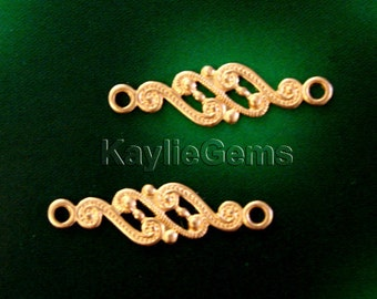 6 Flower Filigree Stamping Connector Raw Brass Baroque Victorian Style Premium Quality USA G5415RB