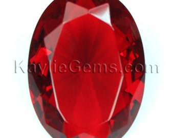 1pc 30x22mm Oval Large Faceted Diamond Cut Pointed Back Unfoiled - Ruby Red BR102