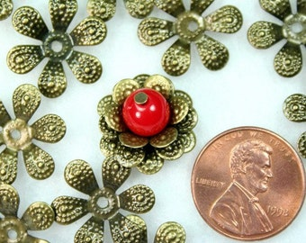 Antique Bronze Flower Bead Caps -30pcs