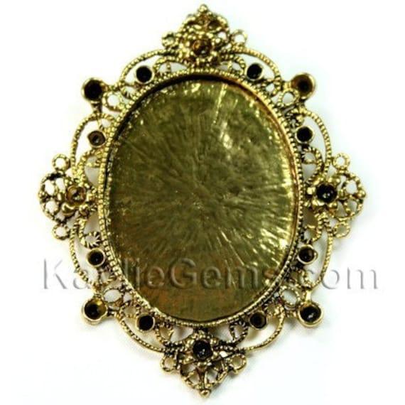 Rhinestone Embelish Cameo Setting Pendant Frame Antique Gold FRM-C5019 - 2pcs