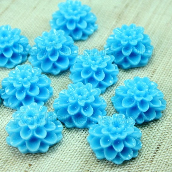 Dahlia Chrysanthemum Flower Cabochon Cabs 14mm Blue 8pcs