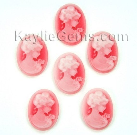 Cameo 13x18mm Victorian Lady Portrait -  White Face On Red Base R07 -6pcs