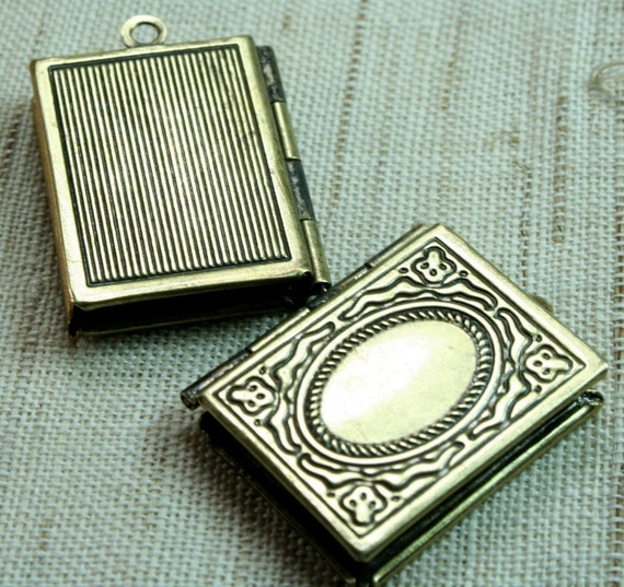 Antique Brass Book Locket Pendants Charms - LKBK-104AB -2pcs