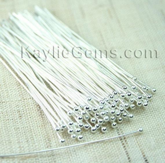 Head pins Ball Tip Head Silver 51mm 2 inches, 22 Gauge -50pcs