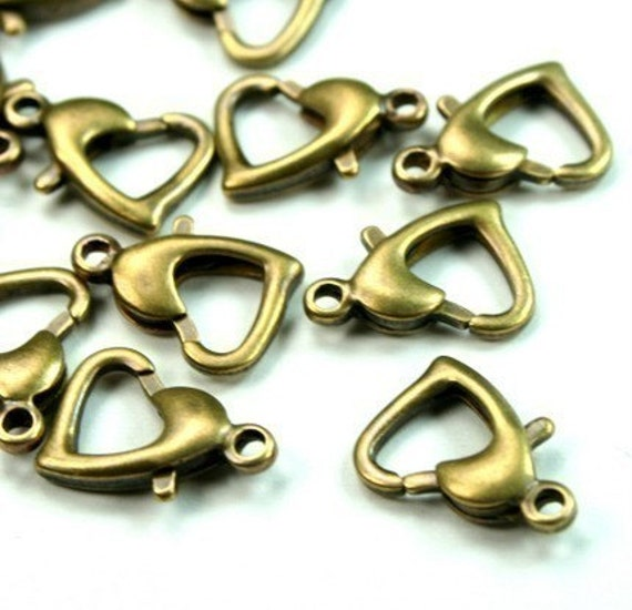 13mm Antique Brass Over Solid Brass Heart shaped Lobster Clasp LC-HRTAB