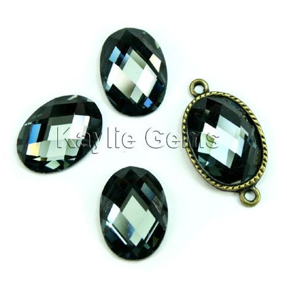 Mirror Glass Cabochon cab 18x13 Oval Checker Cut Faceted Dome -Black Diamond- 4pcs