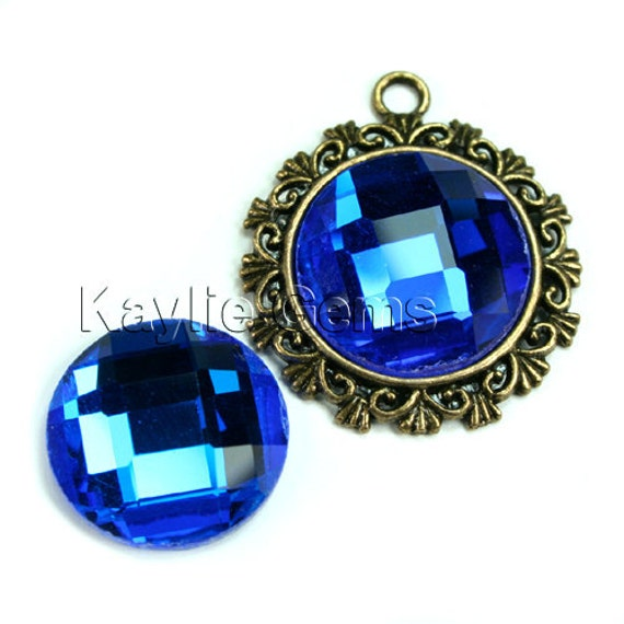 Mirror Glass Cabochon cab 20mm Round Checker Cut Faceted Dome -Royal Blue - 2pcs