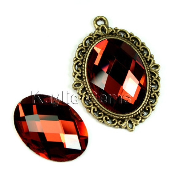 Oval 18x25 Mirror Glass Cabochon Cab Faceted Checker Cut Dome -Garnet- 2pcs