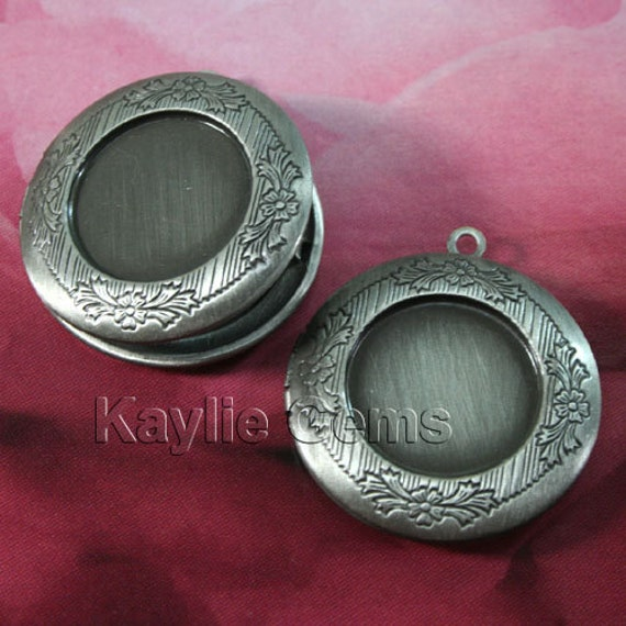Round Locket DARK Antique Silver Cameo Cabochon Setting Frame Victorian Style - LKRS-128AP - 2pcs