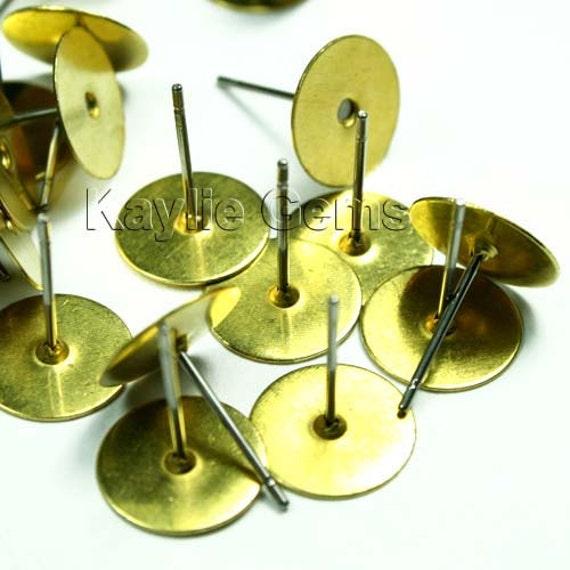 50 Raw Brass Earring Stud Post 10mm Pad 12mm Long