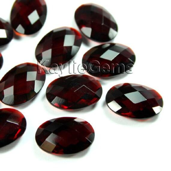 Vampire blood - 18x13 Oval Glass Jewel Double Checker Cut Deep Red- DCBR112 - 2pcs
