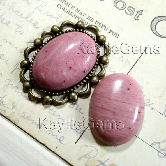 Natural Rose Stone Cabochon Oval 22x30mm Flat Back Limited Qty-1 pc