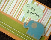 Blue Elephant Birthday Card with Handwritten Greeting