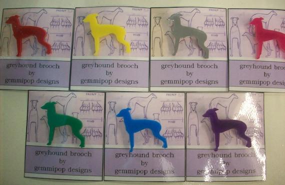 laser cut acrylic greyhound brooch