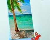 "Caribbean Mini Slice of the Beach   2""X4"" print on linen paper on Etsy"