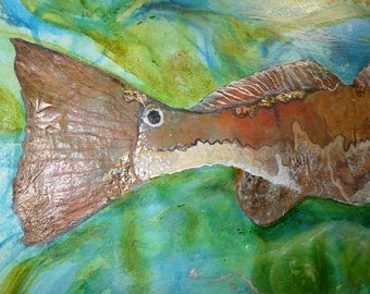 The One That Got Away.   (SOLD)   Red Drum floorcloth. 2'X3' canvas.  Posted for custom orders.