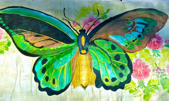 Butterfly floorcloth 2'X4' rectangle