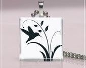 Glass Tile Pendant- Birds Are A Twitter (8C61) FREE SHIPPING ON 4 OR MORE PENDANTS