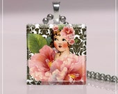Glass Tile Pendant-For The Love Of Girls (6Y24) FREE SHIPPING ON 4 OR MORE PENDANTS