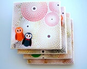 Ceramic Tile Coasters Set of Four, Geometric Owls FOR Chris