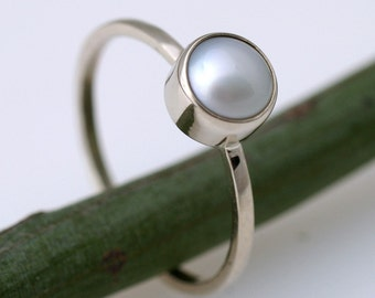 Pure 2 In White - Modern Engagement Or Stacking Ring