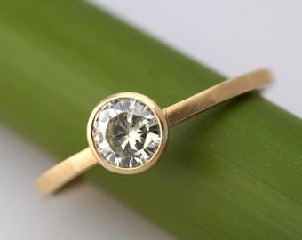 Moissanite Facets - Modern Engagement Ring