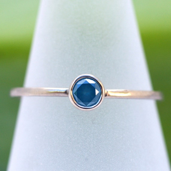 Simple Ocean Blue Diamond Facets - One Of A Kind Engagement Ring