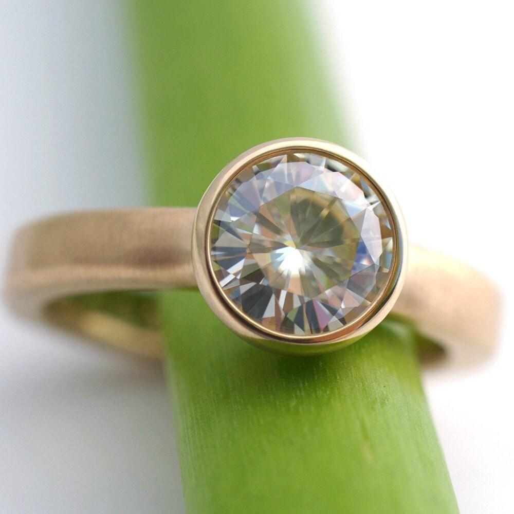 Moissanite 1 5 Carat Modern Engagement Ring by KyleAnneMetals