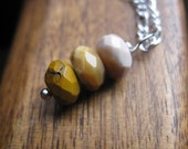 mustard yellow necklace. autumn necklace. yellow mookaite rondelle necklace in silver. splurge.