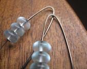 niobium earrings in bronze & aquamarine. soft turquoise earrings. splurge.
