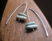 Canadian jade earrings in sterling silver. sterling silver earrings. green jade earrings. splurge.