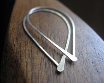 simplicity sterling silver hoop earrings. rain drop earrings. minimalist jewelry.
