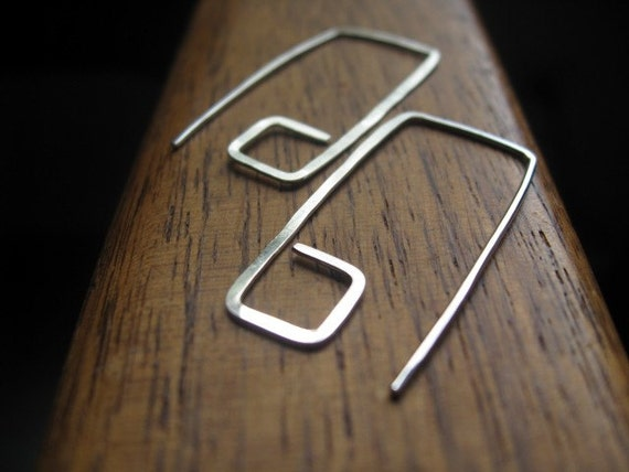 geometric sterling silver earrings. geometric earrings. modern earrings. splurge.