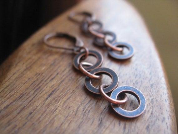 antique copper earrings. modern earings. splurge.