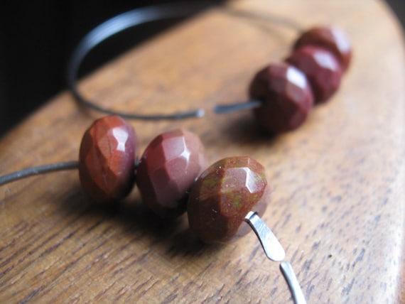 niobium earrings in red mookaite. dark silver earrings. hoop earrings. splurge.