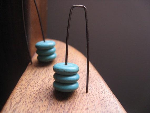 niobium earrings in turquoise howlite. turquoise earrings in chocolate niobium. splurge.