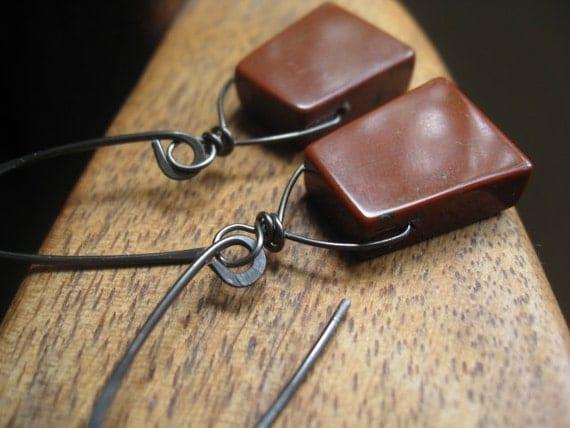 dangle earrings. niobium earrings in brick red jasper.