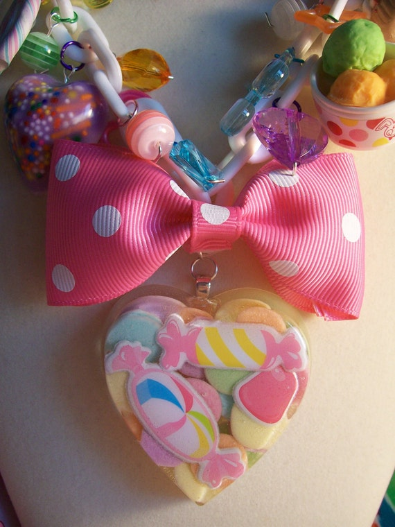 Charm Necklace Overkill Pastel Rainbow Fairy Kei Sweet Lolita Resin Heart Candy